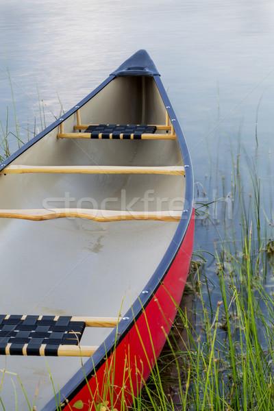 Rosso canoa lago erba verde estate Foto d'archivio © PixelsAway