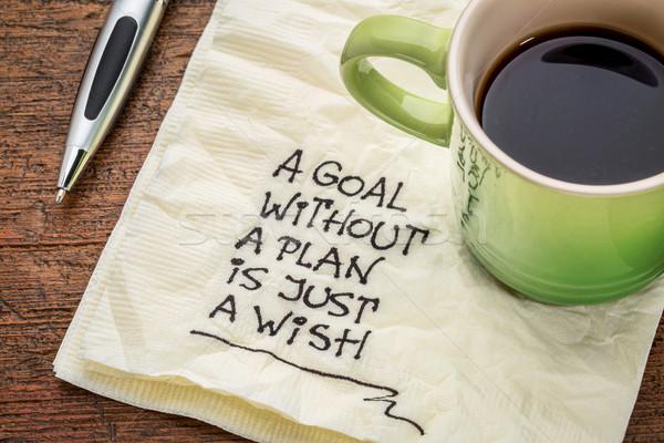 Foto stock: Objetivo · plan · motivacional · escritura · servilleta