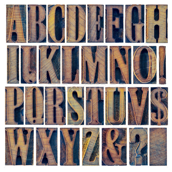 Alphabet ponctuation bois type modernes Photo stock © PixelsAway