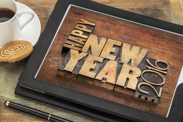 Stockfoto: Gelukkig · nieuwjaar · 2016 · tablet · tekst · vintage