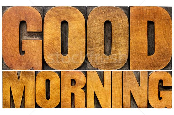 Bom dia palavra abstrato isolado texto vintage Foto stock © PixelsAway