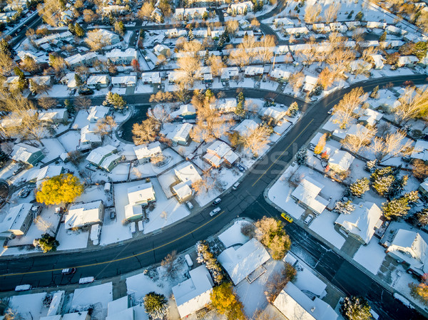 Erőd városkép hó friss légifelvétel tipikus Stock fotó © PixelsAway