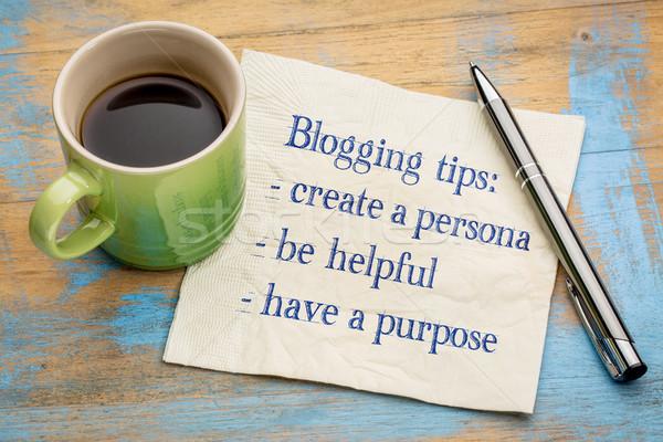 Blogging conseils serviette écriture tasse espresso Photo stock © PixelsAway