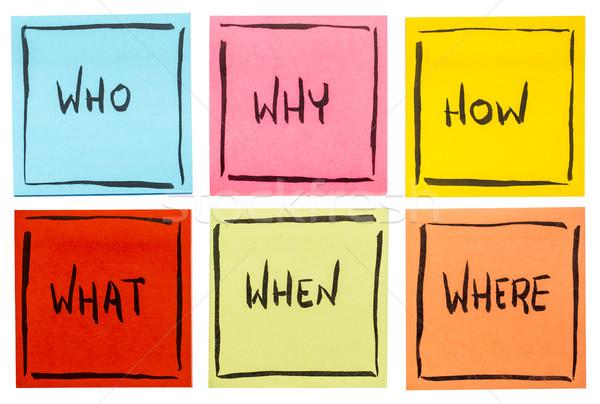 Lluvia de ideas la toma de decisiones preguntas qué incertidumbre establecer Foto stock © PixelsAway