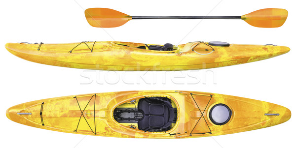 river running kayak and paddle isolated Stock photo © PixelsAway