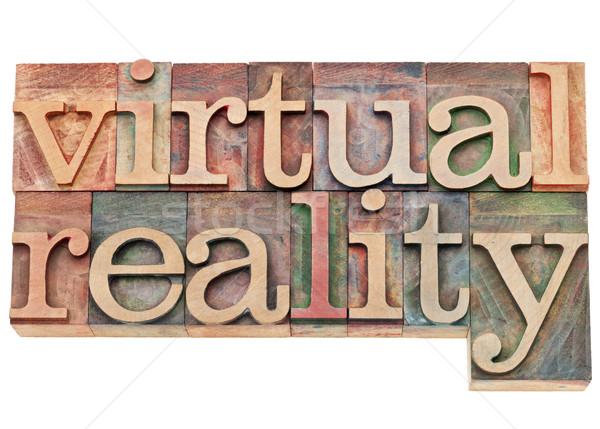 virtual reality in letterpress wood type Stock photo © PixelsAway