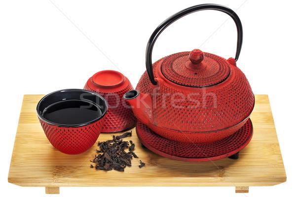 Oolong thee Rood traditioneel gietijzer theepot Stockfoto © PixelsAway