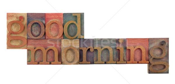 Sabah iyi tebrik bağbozumu ahşap tip Stok fotoğraf © PixelsAway