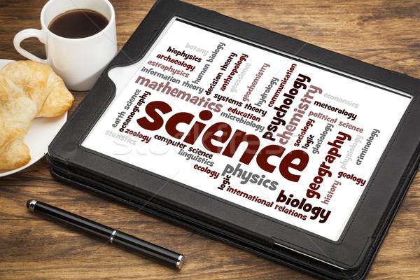 Science nuage de mots numérique comprimé tasse Photo stock © PixelsAway