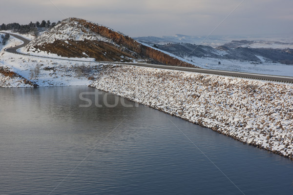 mountain reservoir, dam and windy road Stock photo © PixelsAway