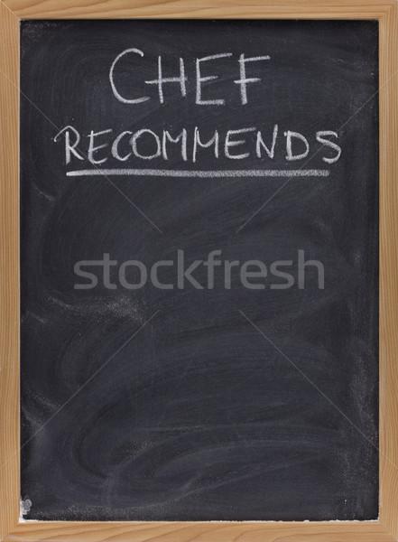 Foto stock: Chef · anúncio · lousa · título · branco