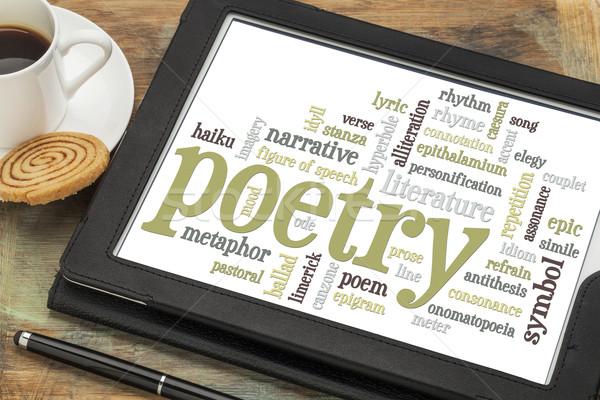 Poesia nuvem da palavra digital comprimido copo café Foto stock © PixelsAway