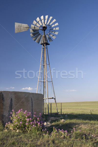 windmill, water pump and concrete tank in shortgrass prairie of  Stock photo © PixelsAway