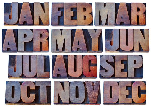 months in wood type - calendar concept Stock photo © PixelsAway