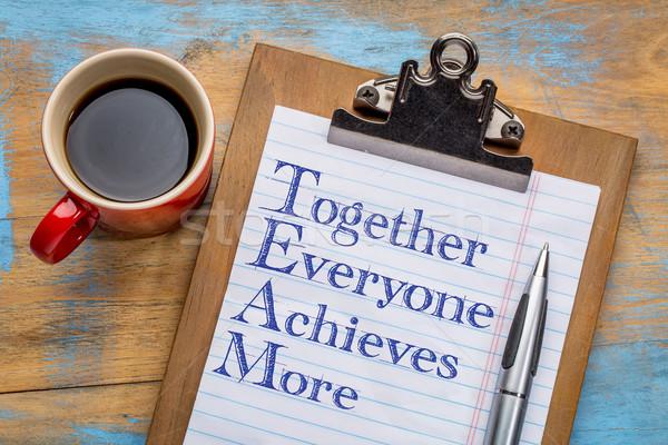 Takım birlikte herkes daha fazla motivasyon metin Stok fotoğraf © PixelsAway