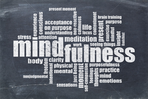 mindfulness word cloud on blackboard Stock photo © PixelsAway