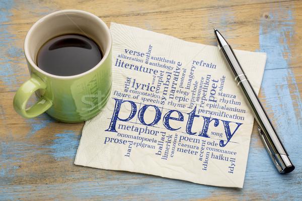 Poesie Wort-Wolke Serviette Kaffee Handschrift Tasse Stock foto © PixelsAway