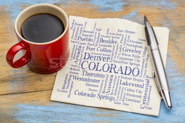 Stock photo: major cities of Colorado word cloud on napkin