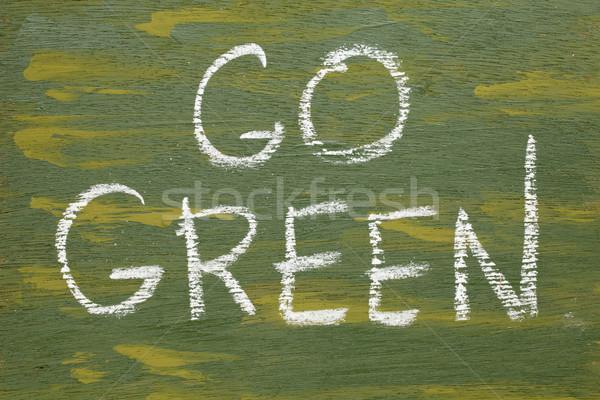 Zöld felirat fehér kréta kézírás furnérlemez Stock fotó © PixelsAway