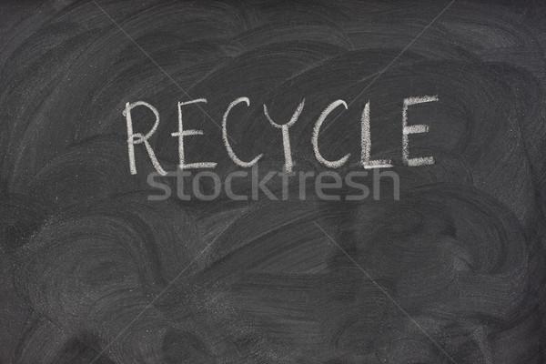 újrahasznosít iskola iskolatábla kézzel írott fehér kréta Stock fotó © PixelsAway