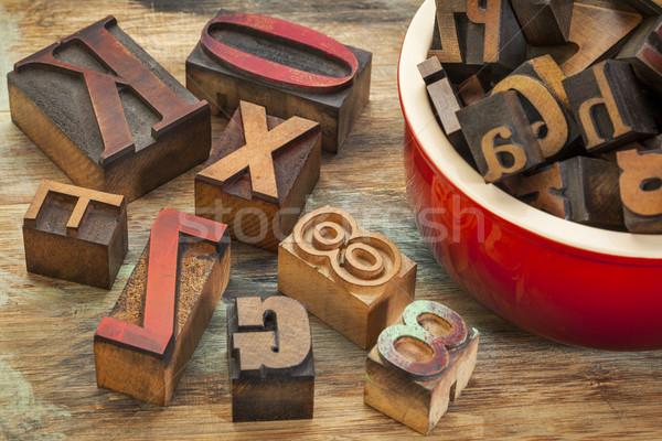 Tipografía madera tipo olla impresión Foto stock © PixelsAway