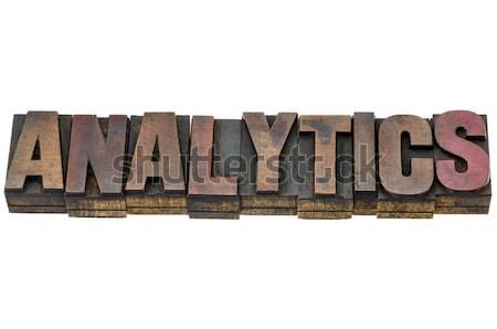 Analítica palavra madeira tipo isolado texto Foto stock © PixelsAway