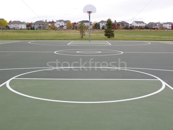 Boisko do koszykówki zielone parku domów sportu Zdjęcia stock © PixelsAway