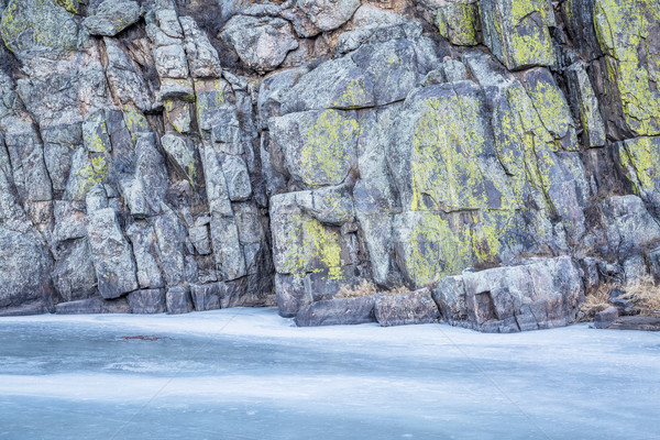 frozen river and rocky cliff Stock photo © PixelsAway