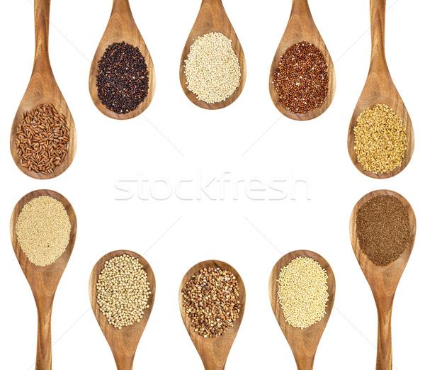 Foto stock: Sem · glúten · sementes · variedade · marrom · arroz