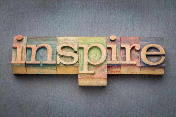 Inspirować słowo drewna typu druku Zdjęcia stock © PixelsAway