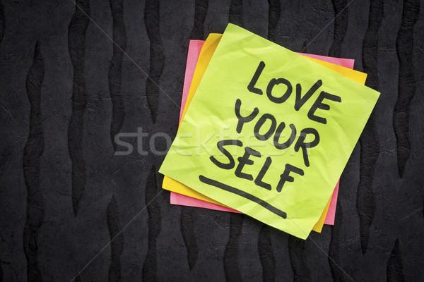 Szeretet magad emlékeztető tanács kézírás öntapadó jegyzet Stock fotó © PixelsAway