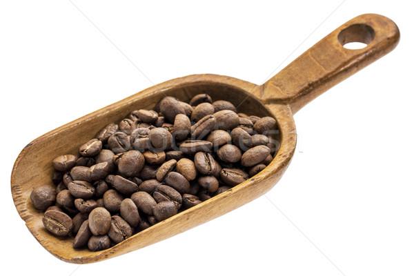Rusztikus merítőkanál kávé pörkölt fából készült izolált Stock fotó © PixelsAway