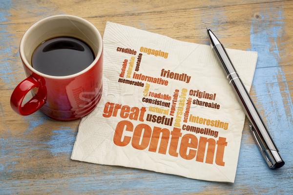 great content concept on napkin Stock photo © PixelsAway