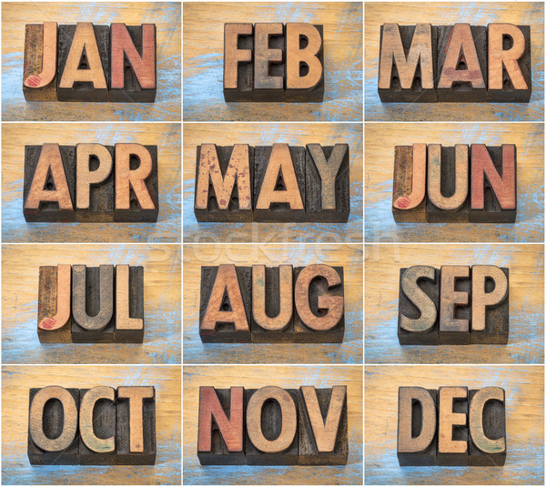 12 months in vintage letterpress wood type Stock photo © PixelsAway