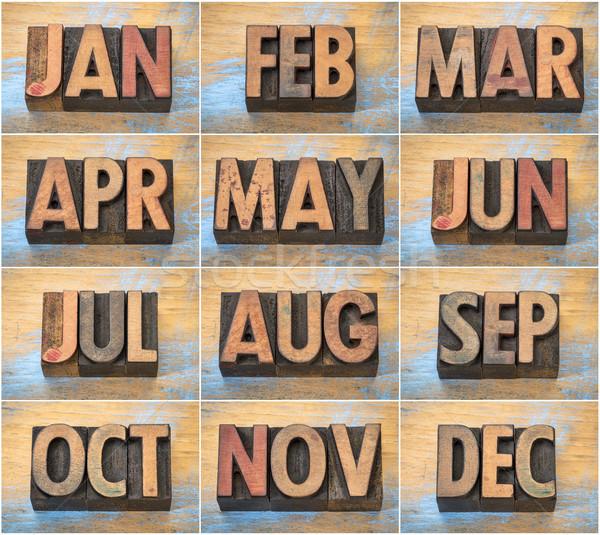 12 meses vintage madera tipo Foto stock © PixelsAway