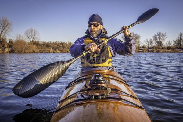Training zee kajak volwassen mannelijke Stockfoto © PixelsAway