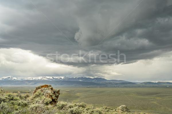 Pesado nubes de tormenta norte parque montanas Foto stock © PixelsAway