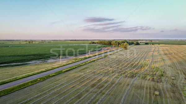 Vidéki tájkép légifelvétel keskeny út legelő Stock fotó © PixelsAway