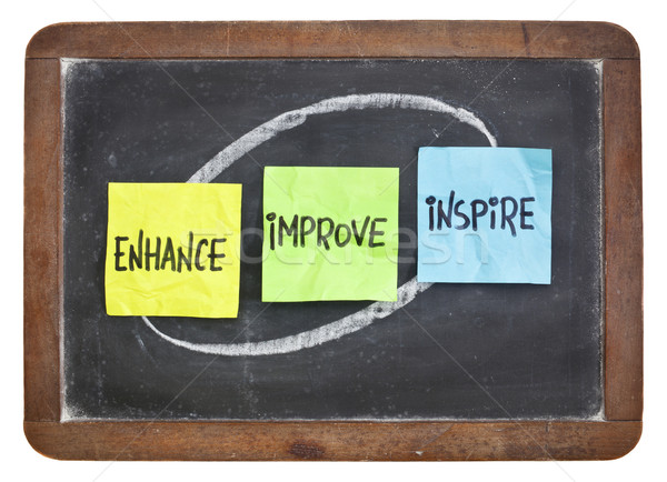 enhance, improve, inspire on blackboard Stock photo © PixelsAway