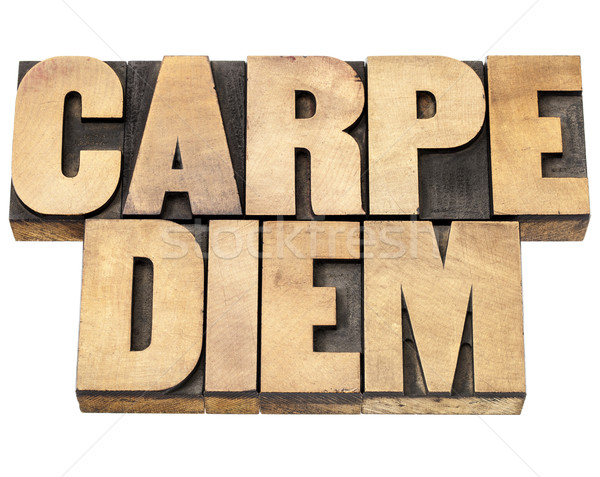 Carpe Diem in wood type Stock photo © PixelsAway