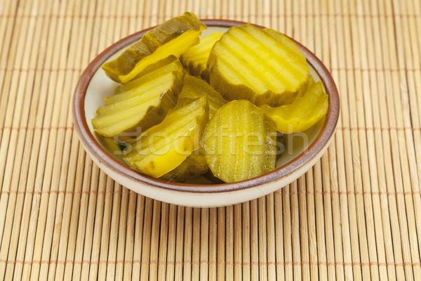 Komkommer augurken saus schotel bamboe Stockfoto © PixelsAway