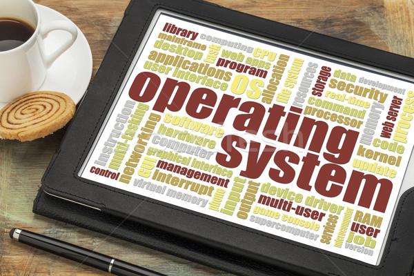 Besturingssysteem woordwolk digitale tablet beker koffie Stockfoto © PixelsAway