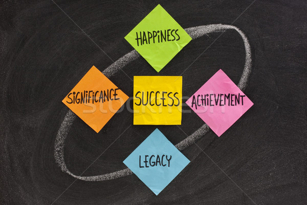 Onderdelen succes geluk prestatie nalatenschap Blackboard Stockfoto © PixelsAway