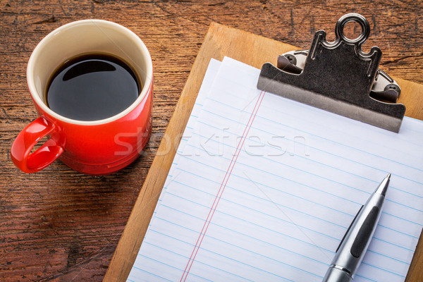 blank paper on clipboard and coffee Stock photo © PixelsAway