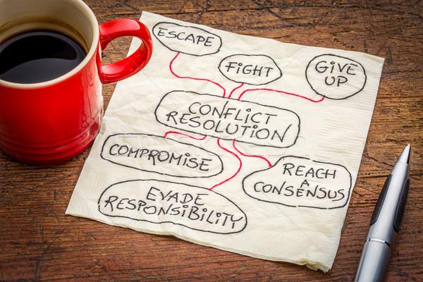 conflict resolution strategies on napkin Stock photo © PixelsAway