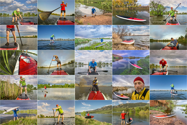 collection of stand up paddling (SUP) pictures  Stock photo © PixelsAway