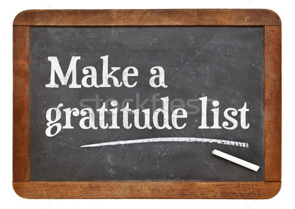 Gyártmány hála lista iskolatábla inspiráló tanács Stock fotó © PixelsAway