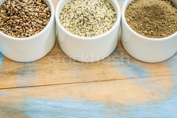 Semillas corazones proteína polvo productos pequeño Foto stock © PixelsAway