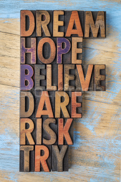 dream, hope, believe, dare, risk and try Stock photo © PixelsAway