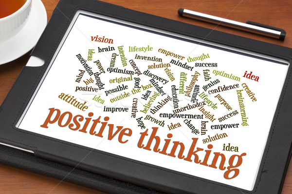 positive thinking word cloud on tablet Stock photo © PixelsAway
